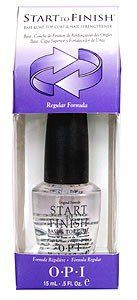 OPI Nail Polish Start to Finish Regular Formula 15ml by OPI. $7.50. OPI Start to Finish is a Base Coat, Top Coat & Nail Strengthener in one. This unique Formaldehyde Free Formula is a breakthrough 3 in 1 nail treatment in one high performance product. OPI Start-to-Finish prevents staining and strengthens the natural nail, is a quick-drying top coat that gives a high-gloss shine and also bonds nail protein fibres to prevent moisture loss and give stronger more flexible...