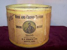 OLD ROSE & CROWN SMOKING MIXTURE TIN - S.S. PIERCE CO. BOSTON, MASSACHUSETTS ! Rose Crown, Old Rose, Alcohol, Tobacco Pipes, Boston Massachusetts, Smoke, Canning, Tins, Advertising