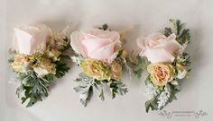 Pale pink roses lady lapel corsages.