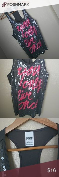 Victoria Secret Gray and Pink print tank Victoria Secret Gray and Pink print tank. You only live once. Size small Victoria's Secret Tops Tank Tops