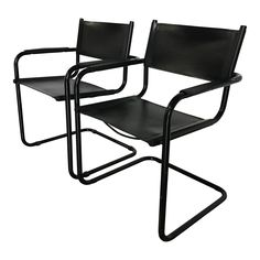 Image of Mid-Century Modern Mart Stam S-34 Black Leather Cantilevered Chairs - A Pair