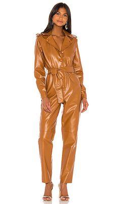 Shop for Ronny Kobo Alie Faux Leather Jumpsuit in Cognac at REVOLVE. Leather Catsuit, Leather Jumpsuit, Leather Pants, Waist Cincher Corset, Designer Jumpsuits, Waist Training Corset, Black Milk Clothing, Stockings Lingerie, Leather Fashion