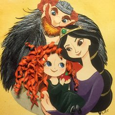 Merida, Elinor & Fergus. Papercut I made for my new baby niece's room :)