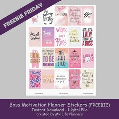 "This week with Freebie Friday I am back to motivational quotes featuring Boss Motivation. Hopefully these quotes will help keep you empowered and remember that you can do anything you set your mind to. These stickers will fit most planners but are the standard size of EC at 1.5"" x 1.9"" and HP at 1.5"" xRead More"