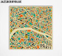 PARIS Map Giclee Fine Art Print Modern Abstract by JazzberryBlue, $30.00