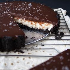 NO-BAKE CHOCOLATE MASCARPONE TART. Oreo cookie crust with a melt-in-your-mouth mascarpone cream filling and topped with salted chocolate ganache.
