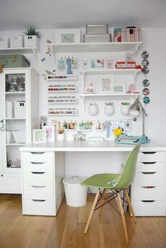 INSIDE the BEST IKEA Craft Rooms with a FREE Ikea shopping list! SMART ideas for organizing craft supplies in craft rooms, sewing rooms, scrapbook rooms . Study Room Decor, Room Ideas Bedroom, Bedroom Decor, Ikea Room Ideas, Ikea Craft Room, Craft Rooms, Ikea Craft Storage, Craft Table Ikea, Desk Storage