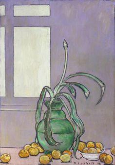 JOSEPH PLASKETT  VATHEIMA, APPLES & WINDOW  Size: 39.75 X 24.25 in. Oil on Canvas, Unframed