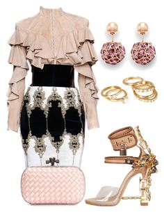 """""""Untitled #897"""" by cheechchonghigh ❤ liked on Polyvore featuring Balmain, Dsquared2, Bottega Veneta and Forever 21"""
