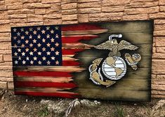 Wood Gadsen Flag, Don't Tread on Me/USA flag Wall Art USA/Dont Tread On Me flag. This flag is a mash up of two flags. Old Glory and the Gadsden flag. The tattered ripped ends of the USA flag is taped/painted and cut with a razor 3 times to insure d Marine Corps, Marine Flag, Marine Mom, Marine Military, Military Retirement, Military Gifts, Military Honors, Marine Gifts, Police Gifts