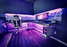 Computer Gaming Room, Computer Desk Setup, Gaming Rooms, Gamer Setup, Gaming Room Setup, Pc Setup, Studio Room, Studio Setup, Small Game Rooms