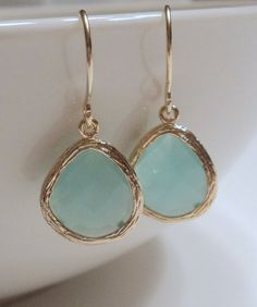 Mint aqua chalcedony aquamarine glass and by blackandwhitejewels, $25.00