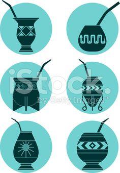 Arte vectorial : Icons with Calabashes Love Tattoos, Tatoos, Argentina Culture, Stick Figures, String Art, Icon Set, Tattoo Studio, Traditional Art, Rio Grande Do Sul