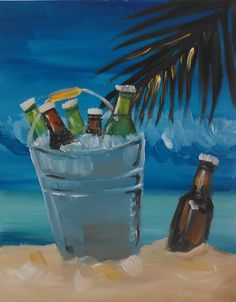 Beach Bucket - A painting you can learn at Painting Escapes in Downtown Plymouth, Michigan.    Painting Escapes is art entertainment. Want an fun evening out? Want an unforgettable experience? Choose a painting from our calendar and get ready to Escape into the theme of your painting. Our talented instructors will guide you through every brush stroke in creating your own personal masterpiece! At Painting Escapes, you'll be amazed at the talents you discover inside of The Creative You!