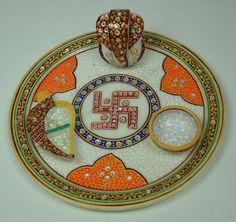 Marble Pooja Thali... 9 Inches Plate... With Lord Ganesh, 1 Diya and 1 Chopra... Please contact us at +91-9929654957.... www,handicraftinternational.com