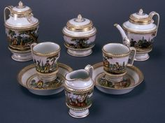 Breakfast set decorated with hunting scenes, 1789-1790, Viennese Porcelain Manufactory, Vienna.