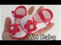 Sapatinho de Croche flor 3D - Profª Fernanda Reis - YouTube