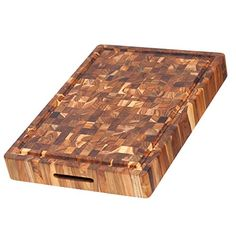 Teak Cutting Board  Rectangular Butcher Block With Hand Grip And Juice Canal 20 x 14 x 25 in  By Teakhaus