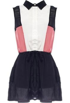 Tuxedo Tribute Romper: Features a sharp black collar with tux-style bib and color-blocked sides, semi-sheer upper back, beautiful pop of coral, and drawstring waist with side pockets to finish.