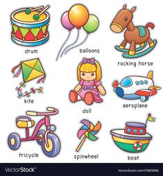 Illustration about Vector illustration of Cartoon toys vocabulary. Illustration of horse, graphic, vocabulary - 97268364 Learning English For Kids, English Lessons For Kids, Kids English, Learn English Words, English Language Learning, Teaching English, Autism Learning, Preschool Learning Activities, English Grammar Worksheets