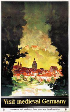Vintage Travel Poster - Medieval Germany - by Jupp Wiertz.