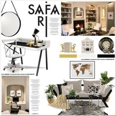 Safari studio by helleka on Polyvore featuring polyvore interior interiors interior design home home decor interior decorating Zuo Modern DwellStudio Delightfull Amara Pier 1 Imports Chisel & Mouse Safavieh Crate and Barrel OKA L'Objet