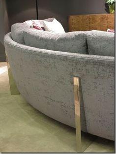 High Point #HPMKT : Thayer Coggin curve sofa #brass frame
