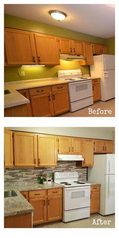 how to downplay honey oak cabinets