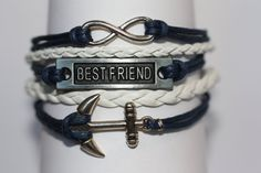 FRIENDSHIP Best Friend Bracelet Anchor by ilovecheesygrits on Etsy