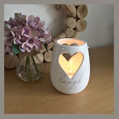 Ceramic heart candle holder