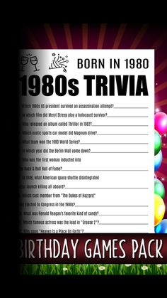 Born In 1980, 40th Birthday, Best Party Games For Adults, Adults Games For Parties
