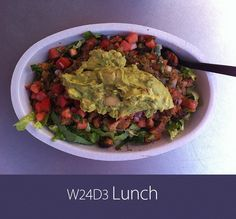 July 19th 2013 - W24D3 Lunch - Chicken, black beans, salsa, guacamole, lettuce. No rice or dairy.