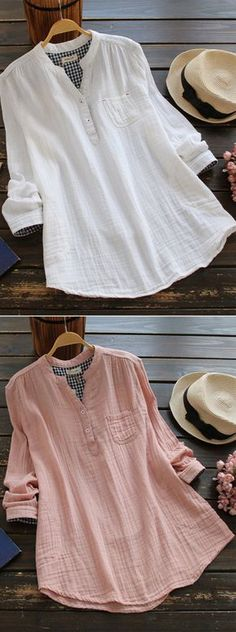 [Newchic Online Shopping] 49%OFF Women's Casual Solid Color Blouses with Stand Collar Long Sleeve