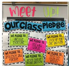 """Having a """"pledge"""" like this can help classrooms function a 3rd Grade Classroom, Future Classroom, School Classroom, Classroom Themes, Classroom Organization, Classroom Door Displays, Minion Classroom, Science Classroom, Classroom Expectations"""