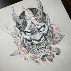 japanese tattoos for strength Samurai Mask Tattoo, Hannya Mask Tattoo, Hanya Tattoo, Japanese Demon Tattoo, Japanese Dragon Tattoos, Japan Tattoo Design, Japanese Tattoo Designs, Tattoo Sketches, Tattoo Drawings