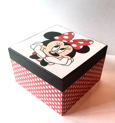 Minnie Mouse Box keepsake box Red Black and white by RedVixenAcc