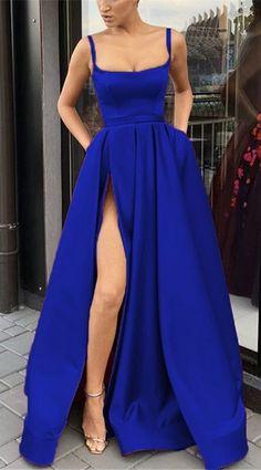 Long Satin Leg Slit Evening Dresses Spaghetti Straps Prom Gowns – slayingdress - royal blue long satin split evening gowns Source by - Straps Prom Dresses, Long Prom Gowns, Satin Dresses, Elegant Dresses, Homecoming Dresses, Formal Dresses, Dress Long, Long Dress Formal, Plus Size Gowns Formal