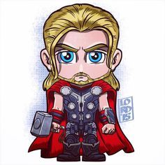 Chibi Thor by Lord Mesa Marvel Dc Comics, Chibi Marvel, Marvel Heroes, Marvel Avengers, Vision Marvel, Logo Super Heros, Arte Assassins Creed, Lord Mesa Art, Age Of Ultron