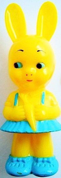 Bunny Rattle. Vintage 1950's Plastic Knickerbocker Easter Bunny Girl Rattle