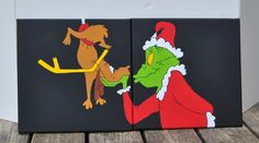 Grinch & Max 2 Canvas Paintings  Wall Art by MuralsYourWay on Etsy, $80.00