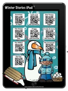 Winter Stories iPad with QR Codes~Scan for fun Listening C Kindergarten Reading, Reading Activities, Teaching Reading, Holiday Activities, Learning, Listening Station, Listening Centers, Teaching Technology, Educational Technology