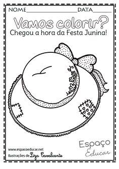 Lindos e inéditos desenhos de Festa Junina para colorir, pintar, imprimir! Desenhos e riscos de Festa Junina! - ESPAÇO EDUCAR