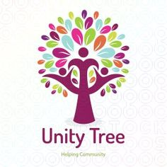Human unity tree and helping community logo