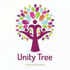 Human unity tree and helping community logo