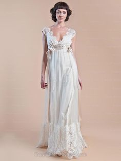 Empire V-neck Tulle Satin Floor-length Ivory Lace Wedding Dresses