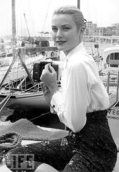 Grace Kelly poses dockside during the Cannes Film Festival on May 6, 1955.