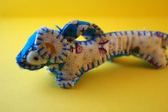 Dachshund plush, blue sausage dog, japanese fabric, craft doll, Stuffed Animal, keychain, cute felt toys,. €8,00, via Etsy.
