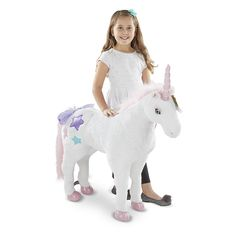 This graceful unicorn will prance right into any child's collection -- and heart! With its pretty pink mane and tail, both scattered through with shimmering silver strands that catch the light, this enchanting friend is sure to become a new favorite. Additional irresistible details include super-silky plush fur, satin star decorations, beautiful blue eyes, and a soft, shiny horn.