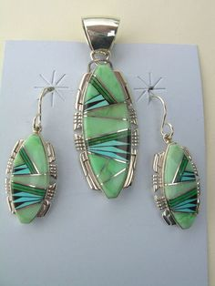 New Native American Navajo Inlay Gaspeite and Turquoise Pendant Earring Set   eBay