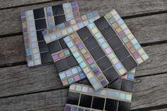 Mosaic Coasters Set of 4 Handmade Glass Tiles in by gcbmosaics